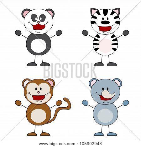 Panda, Zebra, Monkey, Rhino