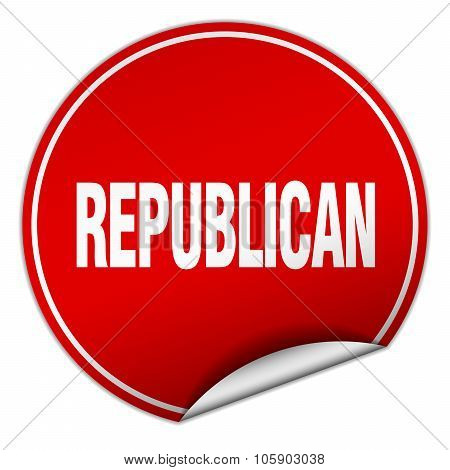 Republican Round Red Sticker Isolated On White
