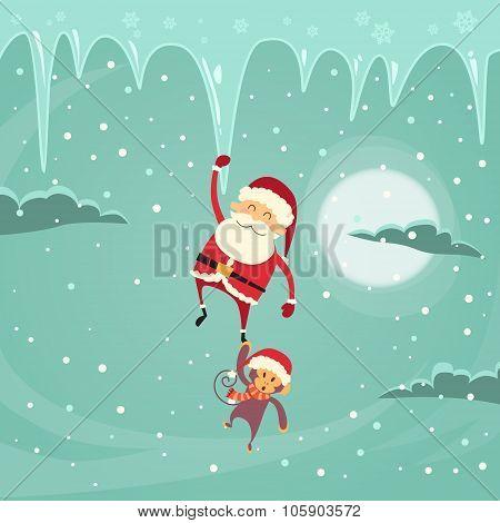Santa Clause Christmas Monkey Cartoon Character Hang on Icicle