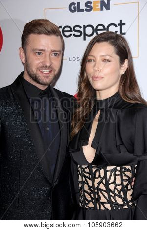 LOS ANGELES - OCT 23:  Justin Timberlake, Jessica Biel at the 2015 GLSEN Respect Awards at the Beverly Wilshire Hotel on October 23, 2015 in Beverly Hills, CA