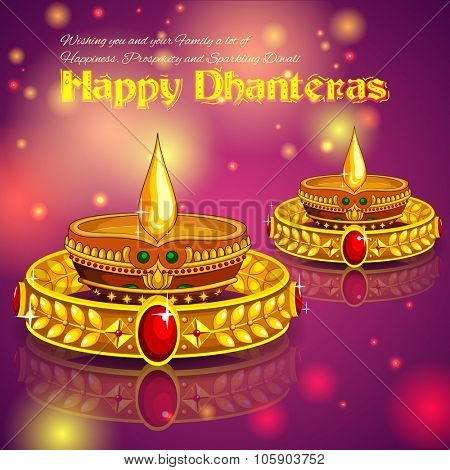 illustration of Happy Diwali jewellery promotion background with diya