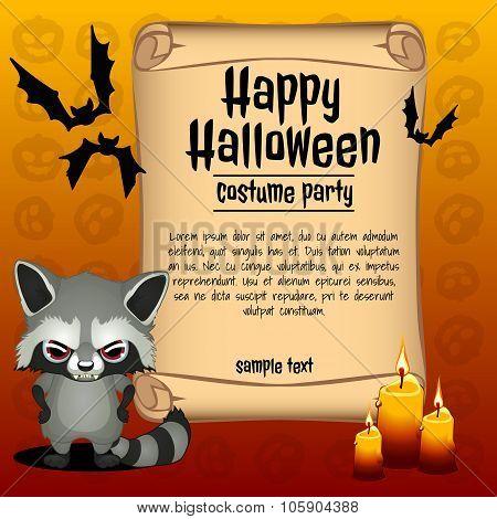 Banner happy Halloween and angry raccoon