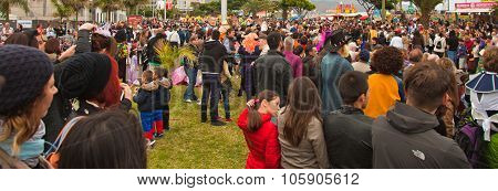 Santa Cruz, Spain - February 12: Viewers Awaiting  The Carnival Parade For One Of The Most Important