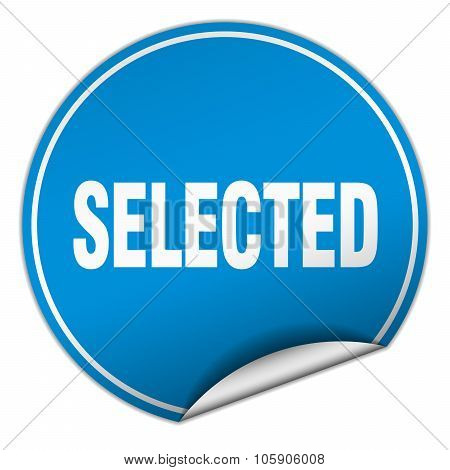 Selected Round Blue Sticker Isolated On White