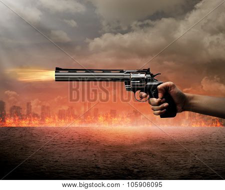 Man Aiming Gun To Burn City