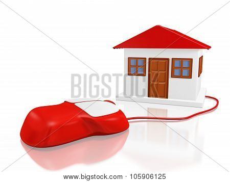 House Model And Computer Mouse