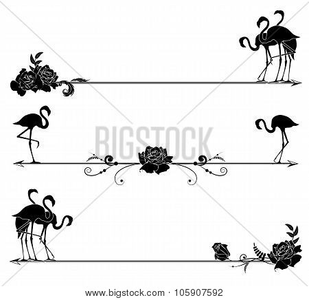 Set Borders With Flamingo And Roses
