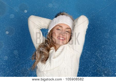 Smiling Woman In Winter Clothes With Snow
