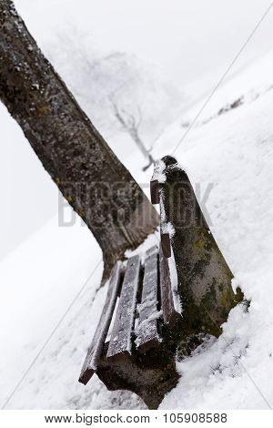 Wooden Bench On A Misty And Snowy Landscape