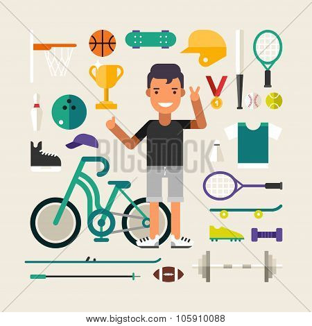 Set Of Vector Icons And Illustrations In Flat Design Style. Male Cartoon Character Sportsman Surroun