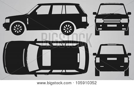 Front, back, top and side SUV projection
