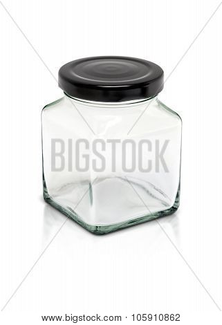 Clear cubic glass bottle with black aluminium cap isolated on white background