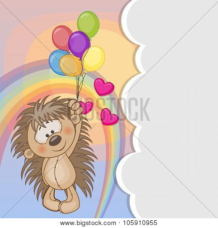 Hedgehog With Balloons