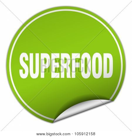 Superfood Round Green Sticker Isolated On White