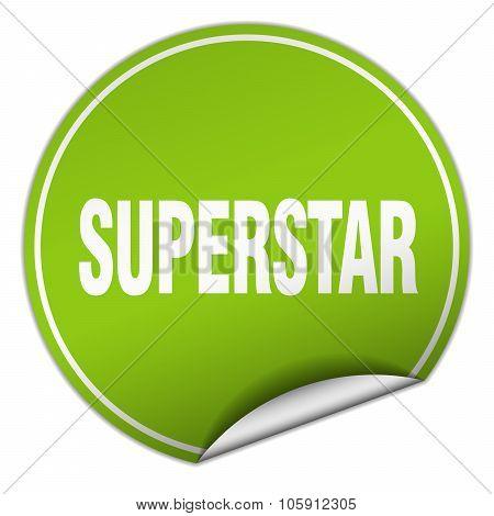 Superstar Round Green Sticker Isolated On White