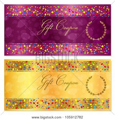 Gift certificate, Voucher, Coupon, Reward, Ticket template with bright confetti (colorful particles)