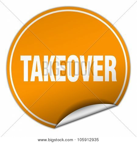 Takeover Round Orange Sticker Isolated On White