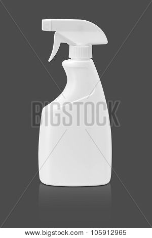 Blank Packaging Spray Bottle Isolated On Gray Background