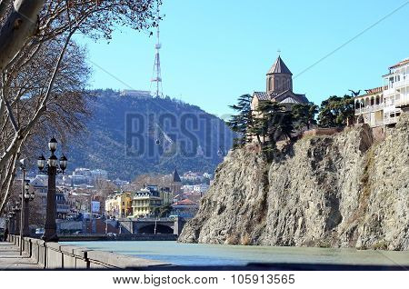 Assumption Church On The Rock Over The Kura River And Mtatsminda Mountain On The Background