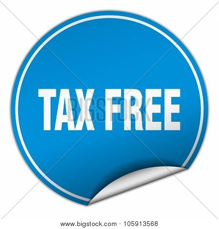 Tax Free Round Blue Sticker Isolated On White
