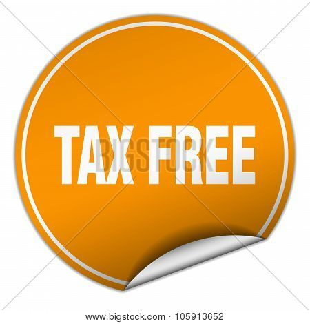 Tax Free Round Orange Sticker Isolated On White