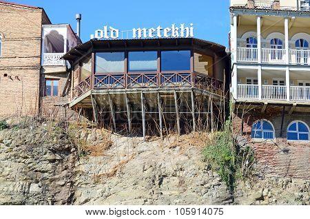 Tbilisi, Georgia - March, 05 2015: Old Metekhi Cafe On The Kura Brae In Tbilisi