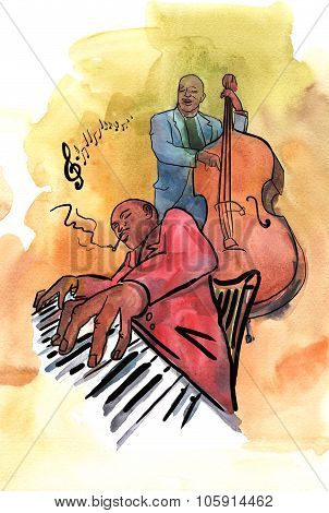 Jazz pianist and bassist playing music