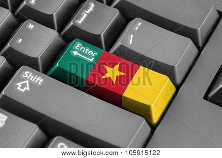 Enter Button With Cameroon Flag