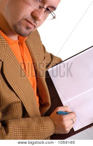 Businessman And Notes