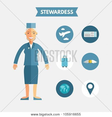 Flat Design Vector Illustration Of Stewardess With Icon Set. Infographic Design Elements