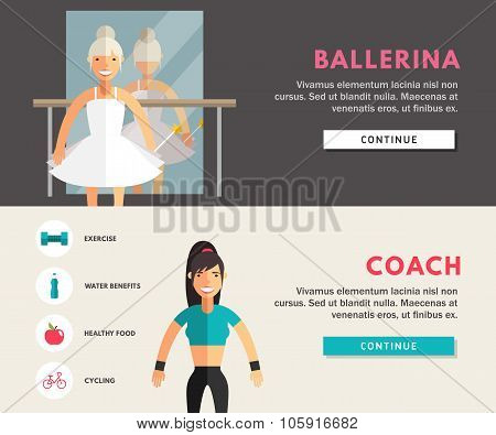 Profession Concept. Ballerina And Coach. Flat Design Concepts For Web Banners And Promotional Materi