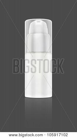 Blank Packaging Cosmetic Serum Bottle Isolated On Gray Background