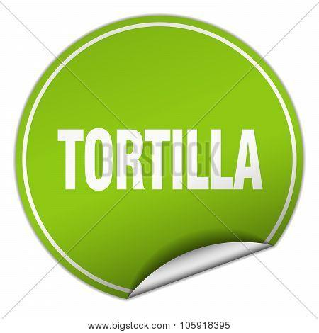 Tortilla Round Green Sticker Isolated On White
