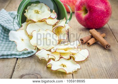 Healthy Snack. Homemade Dehydrated Apple Chips