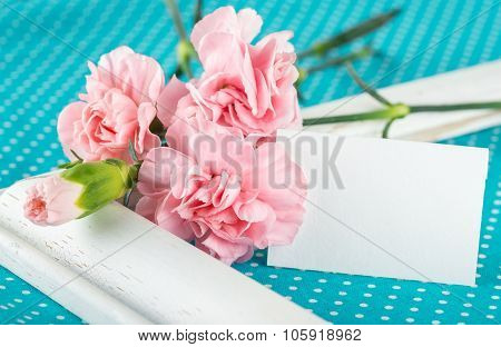 Greeting Card With Pink Carnations