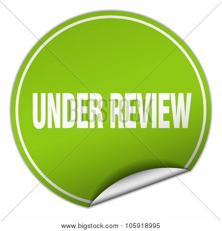 Under Review Round Green Sticker Isolated On White