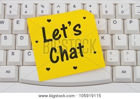 Let's Chat, Computer Keyboard And Sticky Note