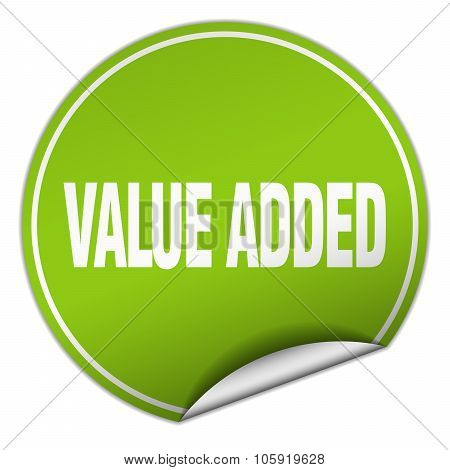 Value Added Round Green Sticker Isolated On White