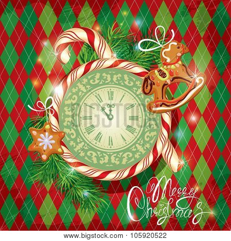 Holiday Card With Watch, Candy, Xmas Gingerbread And Fir Tree Branches On Checked Background. Hand W