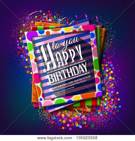 Birthday card. Frames with colorful textures. Vector.