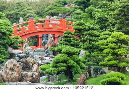 The Red Bridge In Nan Lian Garden.