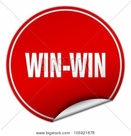 Win-win Round Red Sticker Isolated On White