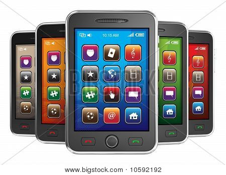 Black mobile smart phones.