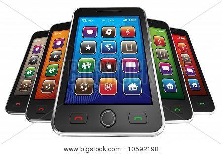 Black mobile smart phones.
