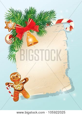 Christmas Greeting Magic Scroll From Santa Claus With Golden Bell, Candy, Bow, Fir-tree Branches And