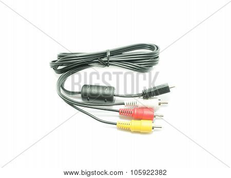 Audio Cable On White Background