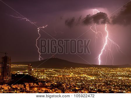 Lightening strikes on the City of Queretaro Mexico.