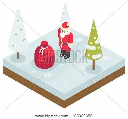 Santa Claus Grandfather Frost Bag Gifts New Year Christmas Isometric 3d Flat Design Icon Template Ve