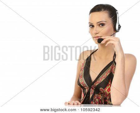Teenage girl with headset
