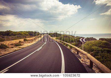 Beuatiful Road On The Mallorca Island, Spain